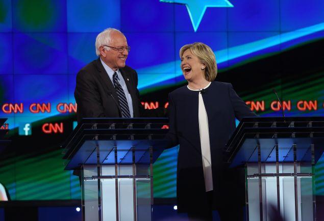 Hillary Clinton with Sen. Bernie Sanders. (Photo: Joe Raedle for Getty Images)