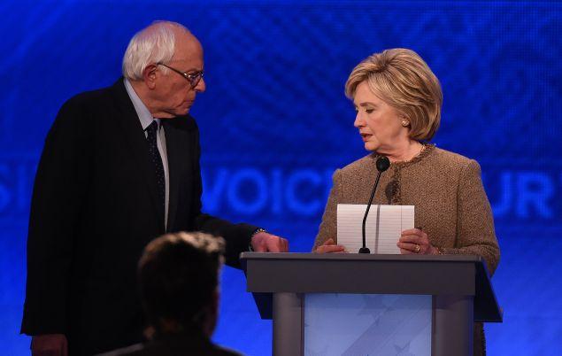 Sen. Bernie Sanders with Hillary Clinton. (Photo: JEWEL SAMAD/AFP/Getty Images)