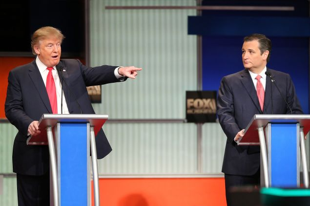 Donald Trump and Sen. Ted Cruz at a recent debate. (Photo: Scott Olson for Getty Images)