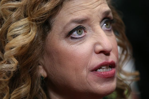 CHARLESTON, SC - JANUARY 17: U.S. Representative Debbie Wasserman Schultz (D-FL 23rd District) and chair of the Democratic National Committee (DNC) speaks to reporters in the spin room after watching tonight's democratic presidential debate at the Gaillard Center on January 17, 2016 in Charleston, South Carolina. Democratic presidential hopefuls Hillary Clinton, Bernie Sanders and Martin O'Malley spent yesterday campaigning in South Carolina in lead up to tonight's debate. (Photo by Andrew Burton/Getty Images)