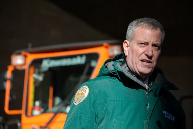 Mayor Bill De Blasio speaks about the city's preparedness for the upcoming storm. (Photo by Bryan Thomas/Getty Images)