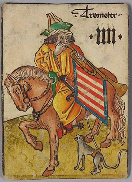 4 of Hungary: Trumpeter from The Courtly Household Cards (Das Hofämterspiel) German, Upper Rhineland, ca. 1450. Kunsthistorisches Museum Wien, Kunstkammer. (Photo: © Kunsthistorisches Museum, Vienna)