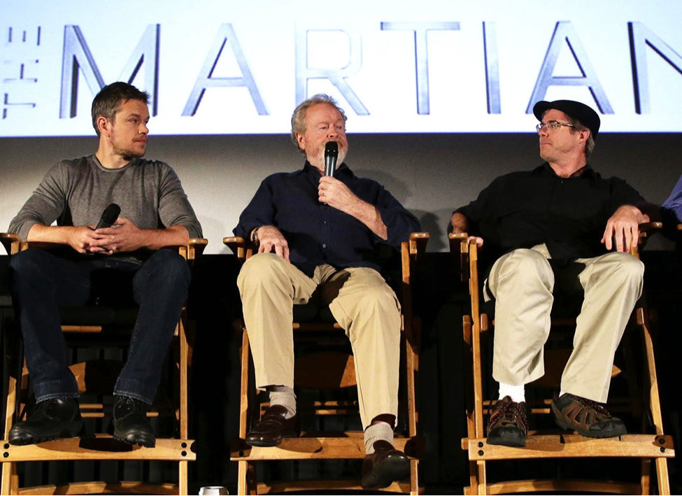 """Actor Matt Damon, director Ridley Scott, author Andy Weir discuss the """"The Martian."""" at a NASA event (NASA/Bill Ingalls)"""