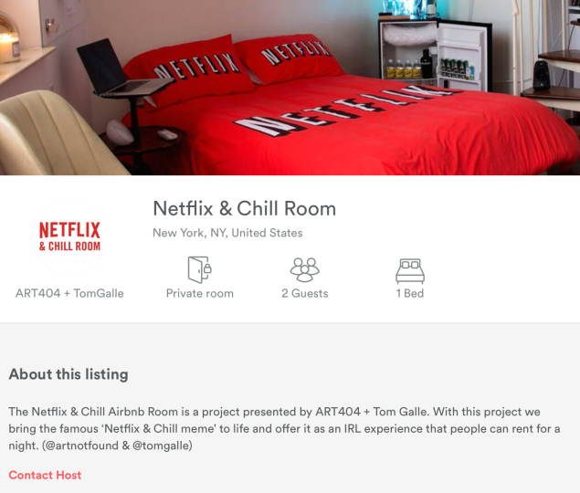 "The ""Netflix and chill"" room's page on Airbnb. (Screenshot/Airbnb)"