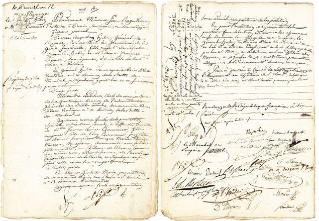 A rare marriage contract signed by Napoleon Bonaparte and Josephine de Beauharnais. (Photo: Lion Heart Auctions)