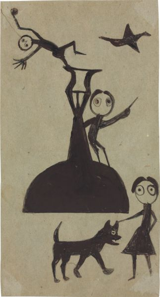 Bill Traylor, Three Figures with Dog, Bird and Fountain, (1939-1942). Est. $40,000-$80,000. (Photo: Christie's)