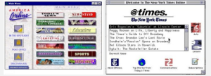 The Times' first foray on the Internet was @times, a partnership with America Online. (Image: Screenshot)
