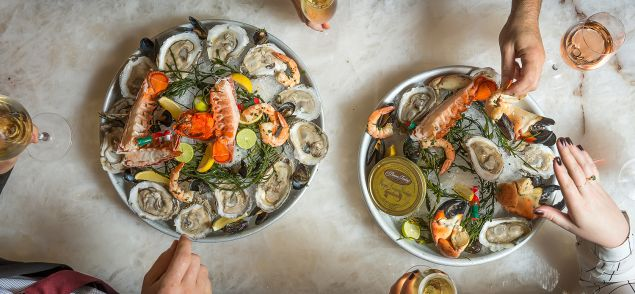A seafood tower from Café Boulud (Photo: Noah Fecks).