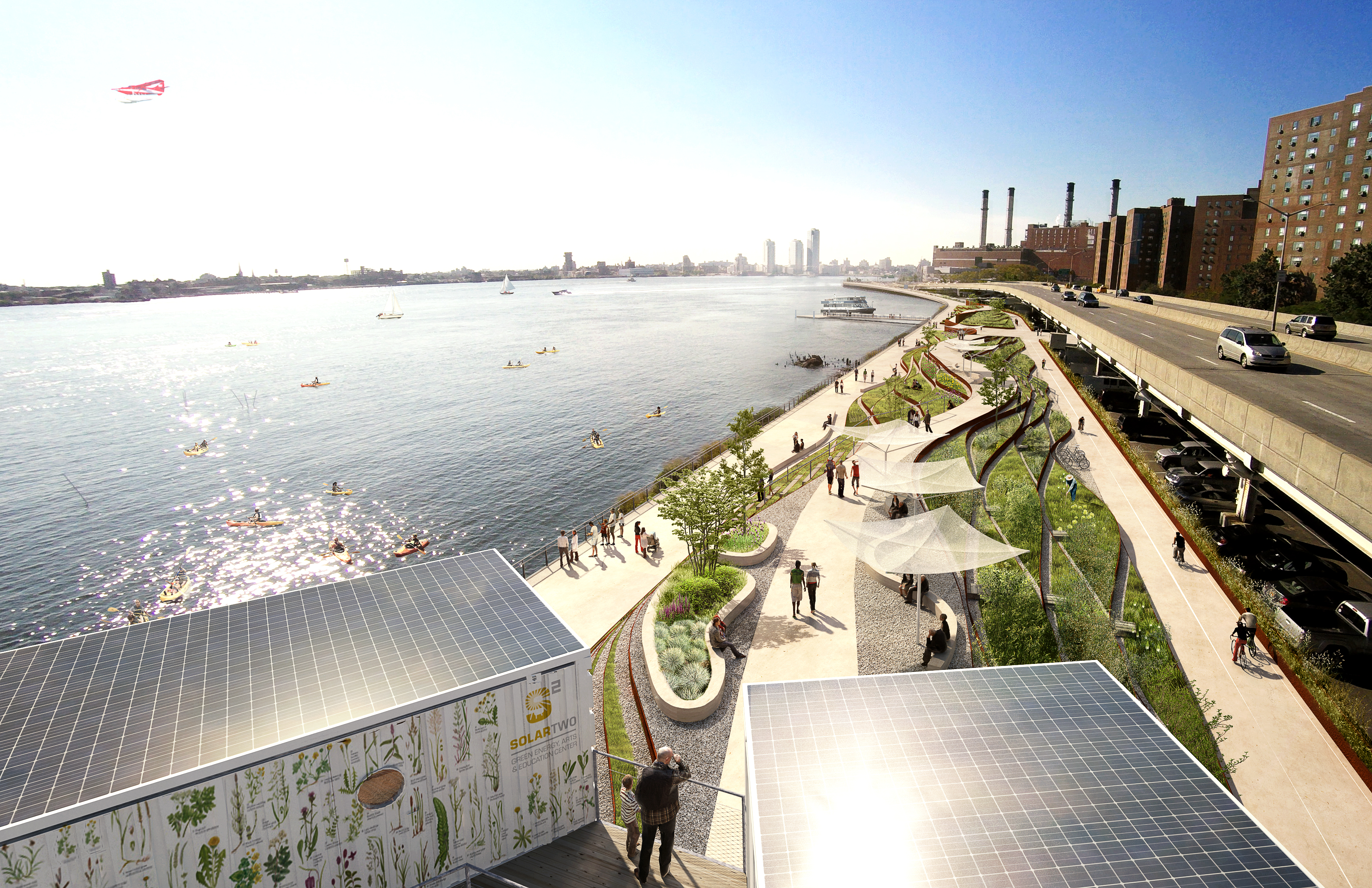 A rendering of the East Side Costal Resiliency Project, aimed at protecting the Lower East Side from storm surges, seen here in sunny weather. (Photo: Rendering Courtesy City of New York)