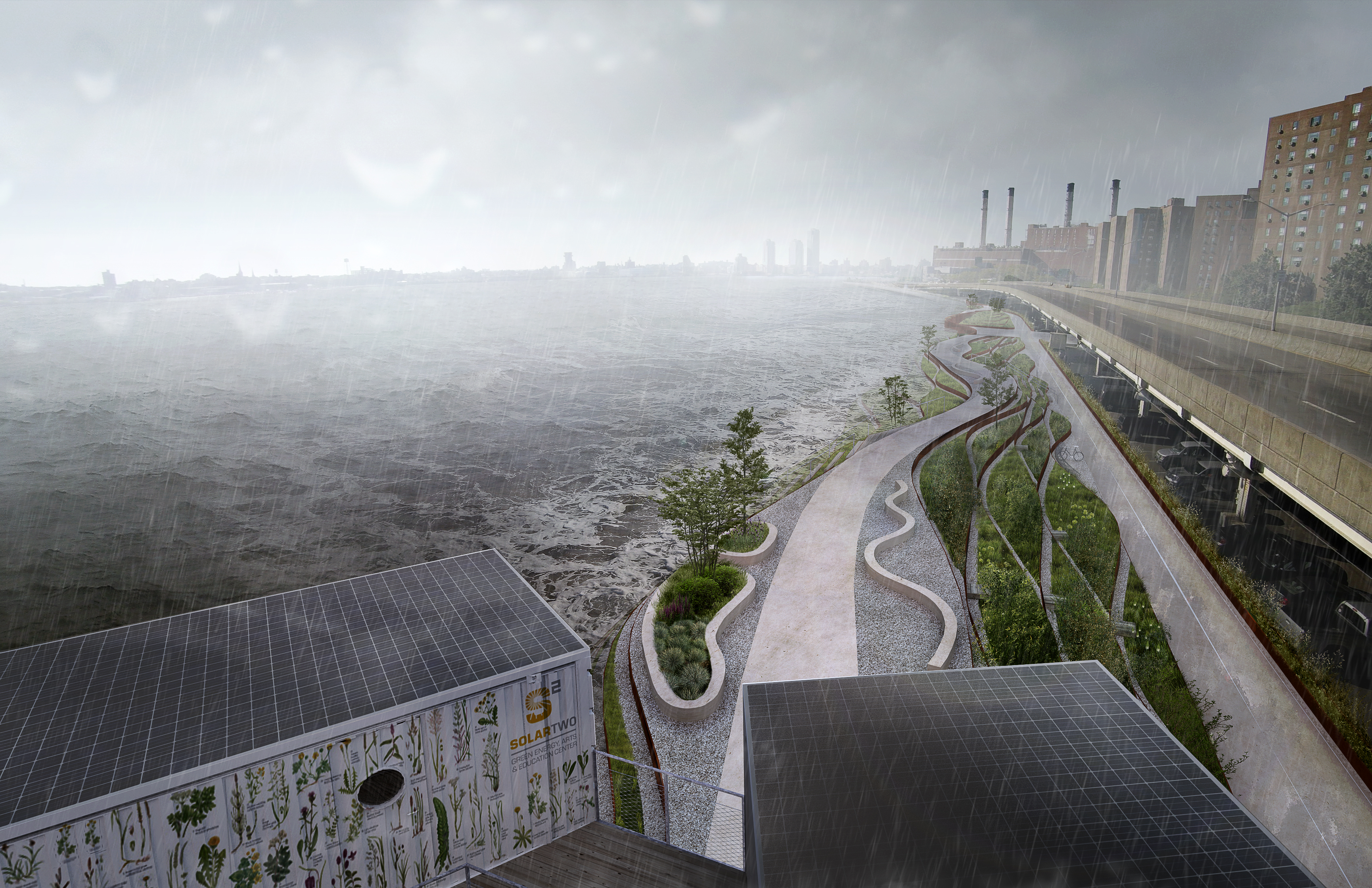 A rendering of the East Side Costal Resiliency Project, aimed at protecting the Lower East Side from storm surges, seen here in stormy weather. (Photo: Rendering Courtesy City of New York)