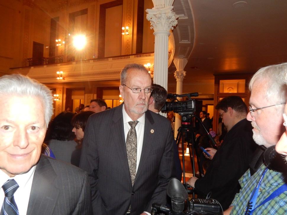 Former Governor Jim Florio, left, and Assemblyman John Wisniewski (D-19).