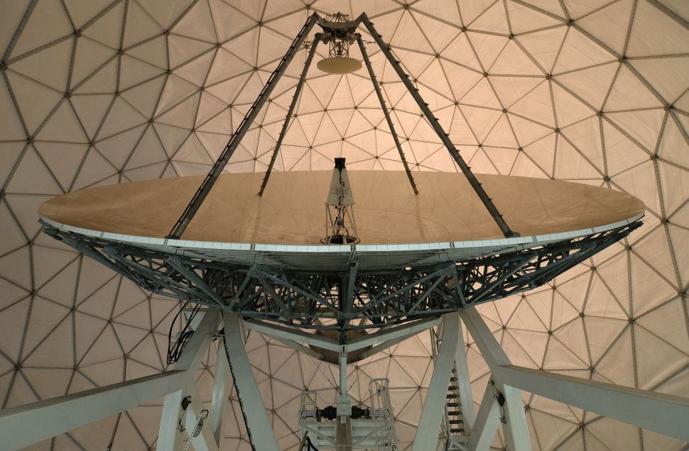 A parabolic reflector inside a radome of the former monitoring base of the US intelligence organization National Security Agency (NSA) in Bad Aibling, southern Germany is pictured on June 6, 2014. AFP PHOTO/CHRISTOF STACHE