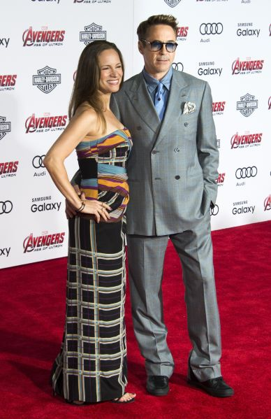 "Actor Robert Downey Jr and Susan Downey attend the premiere of Marvel's ""Avengers: Age Of Ultron"" at the Dolby Theatre on April 13, 2015 in Hollywood, California. AFP PHOTO / ROBYN BECK (Photo credit should read ROBYN BECK/AFP/Getty Images)"