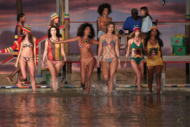 The water-logged finale from Tommy Hilfiger's Spring 2016 show (Photo: Antonio de Moraes Barros Filho/FilmMagic).