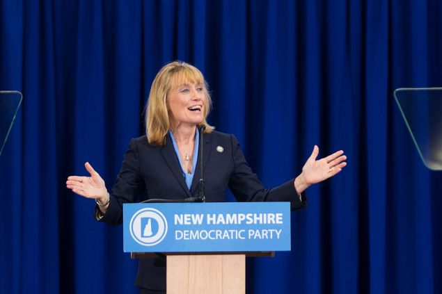 MANCHESTER, NH - SEPTEMBER 19: New Hampshire Gov. Margaret 'Maggie' Hassan, D-N.H., talks on stage during the New Hampshire Democratic Party Convention at the Verizon Wireless Center on September 19, 2015 in Manchester, New Hampshire. Democratic presidential candidate Hillary Clinton spoke at the event. (Photo by Scott Eisen/Getty Images)
