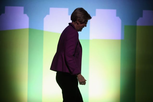 WASHINGTON, DC - OCTOBER 01: Sen. Elizabeth Warren (D-MA) leaves the stage after an interview during the seventh annual Washington Ideas Forum at the Harman Center for the Arts October 1, 2015 in Washington, DC. Warren continued to talk about issues that are important to her, including income inequality, during the forum, which was organized by The Atlantic and the Aspen Institute. (Photo by Chip Somodevilla/Getty Images)