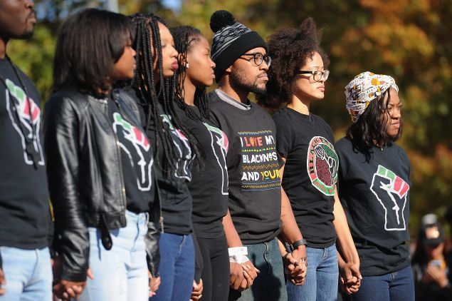 Protests at the University of Missouri forced several school officials to resign. (Photo by Michael B. Thomas/Getty Images)