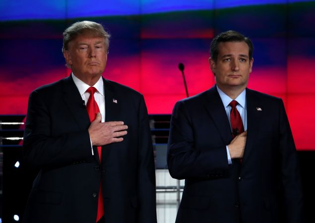 LAS VEGAS, NV - DECEMBER 15: Republican presidential candidates Donald Trump (L) and Sen. Ted Cruz (R-TX) participate in the CNN republican presidential debate at The Venetian Las Vegas on December 15, 2015 in Las Vegas, Nevada. Thirteen Republican presidential candidates are participating in the fifth set of Republican presidential debates. (Photo by Justin Sullivan/Getty Images)