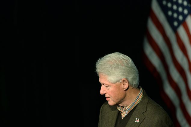 EXETER, NH - JANUARY 4: Former U.S. President Bill Clinton speaks at Exeter Town Hall January 4, 2016 in Exeter, New Hampshire. Bill Clinton spent the day campaigning for his wife, Democratic presidential candidate Hillary Clinton. (Photo by Darren McCollester/Getty Images)