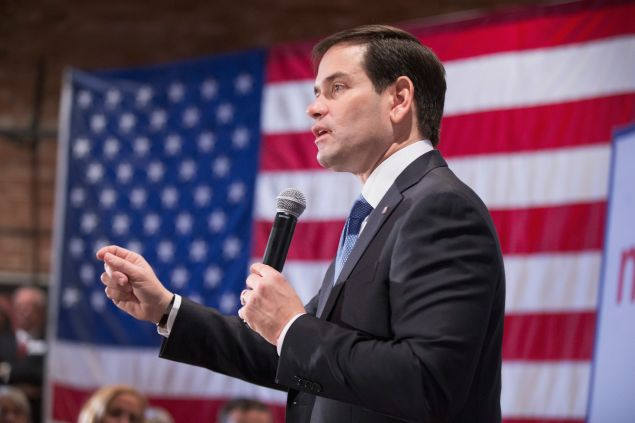 MARSHALLTOWN, IA - JANUARY 06: Republican presidential candidate Sen. Marco Rubio (R-FL) speaks to guests during a rally on January 6, 2016 in Marshalltown, Iowa. During the event Rubio slammed North Korea after it was reported the country carried out a hydrogen bomb test on Tuesday. (Photo by Scott Olson/Getty Images)