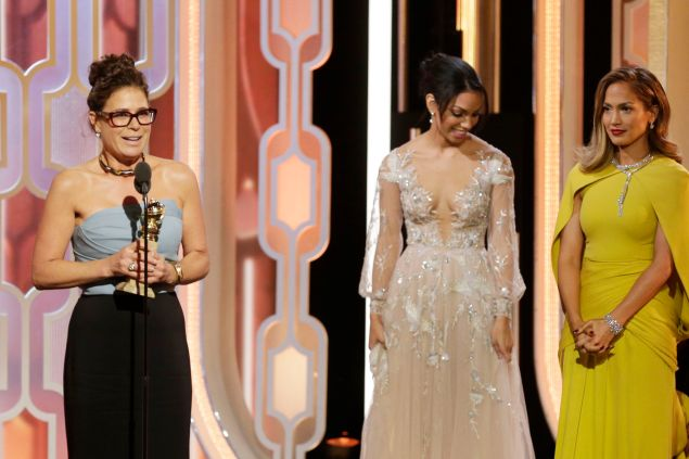 """BEVERLY HILLS, CA - JANUARY 10: In this handout photo provided by NBCUniversal, Maura Tierney accepts the award for Best Supporting Actress - Series/Limited Series/TV Movie for """"The Affair"""" during the 73rd Annual Golden Globe Awards at The Beverly Hilton Hotel on January 10, 2016 in Beverly Hills, California. (Photo by Paul Drinkwater/NBCUniversal via Getty Images)"""