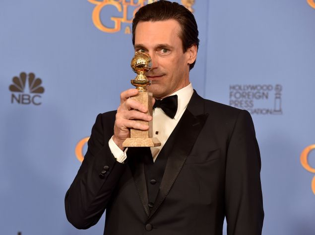 BEVERLY HILLS, CA - JANUARY 10: Actor Jon Hamm, winner of Best Actor in a Television Series - Drama for 'Mad Men,' poses in the press room during the 73rd Annual Golden Globe Awards held at the Beverly Hilton Hotel on January 10, 2016 in Beverly Hills, California. (Photo by Kevin Winter/Getty Images)