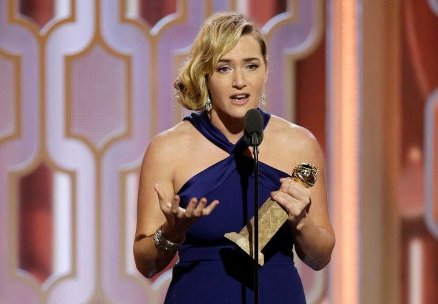 """73rd ANNUAL GOLDEN GLOBE AWARDS -- Pictured: Kate Winslet, """"Steve Jobs"""", Winner, Best Supporting Actress - Motion Picture at the 73rd Annual Golden Globe Awards held at the Beverly Hilton Hotel on January 10, 2016 -- (Photo by: Paul Drinkwater/NBC)"""