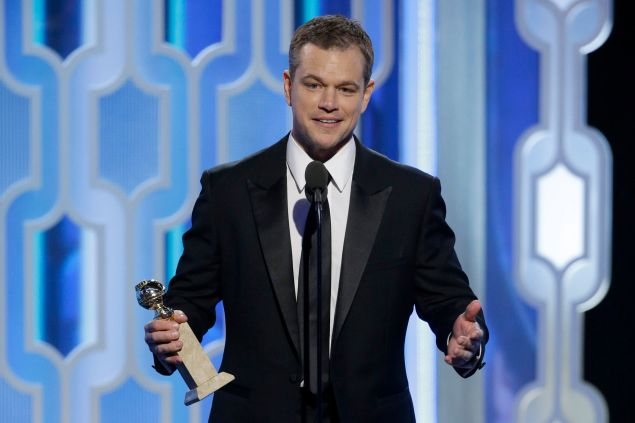 BEVERLY HILLS, CA - JANUARY 10: In this handout photo provided by NBCUniversal, Presenter Matt Damon speaks onstage during the 73rd Annual Golden Globe Awards at The Beverly Hilton Hotel on January 10, 2016 in Beverly Hills, California. (Photo by Paul Drinkwater/NBCUniversal via Getty Images)