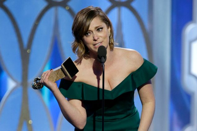 """BEVERLY HILLS, CA - JANUARY 10: In this handout photo provided by NBCUniversal, Rachel Bloom accepts the award for Best Actress - TV Series, Comedy or Musical for """"Crazy Ex-Girlfriend"""" during the 73rd Annual Golden Globe Awards at The Beverly Hilton Hotel on January 10, 2016 in Beverly Hills, California. (Photo by Paul Drinkwater/NBCUniversal via Getty Images)"""