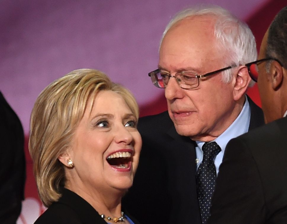 Democratic presidential candidates Hillary Clinton and Bernie Sanders, at the NBC News -YouTube Debate in January. (Photo: Timothy A. Clary/Getty)