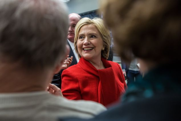 MARION, IOWA - JANUARY 24: Democratic presidential candidate Hillary Clinton greets audience members following a campaign event at Vernon Middle School on January 24, 2016 in Marion, IA. The Democratic and Republican Iowa Caucuses, the first step in nominating a presidential candidate from each party, will take place on February 1. (Photo by Brendan Hoffman/Getty Images) *** Local Caption *** Hillary Clinton