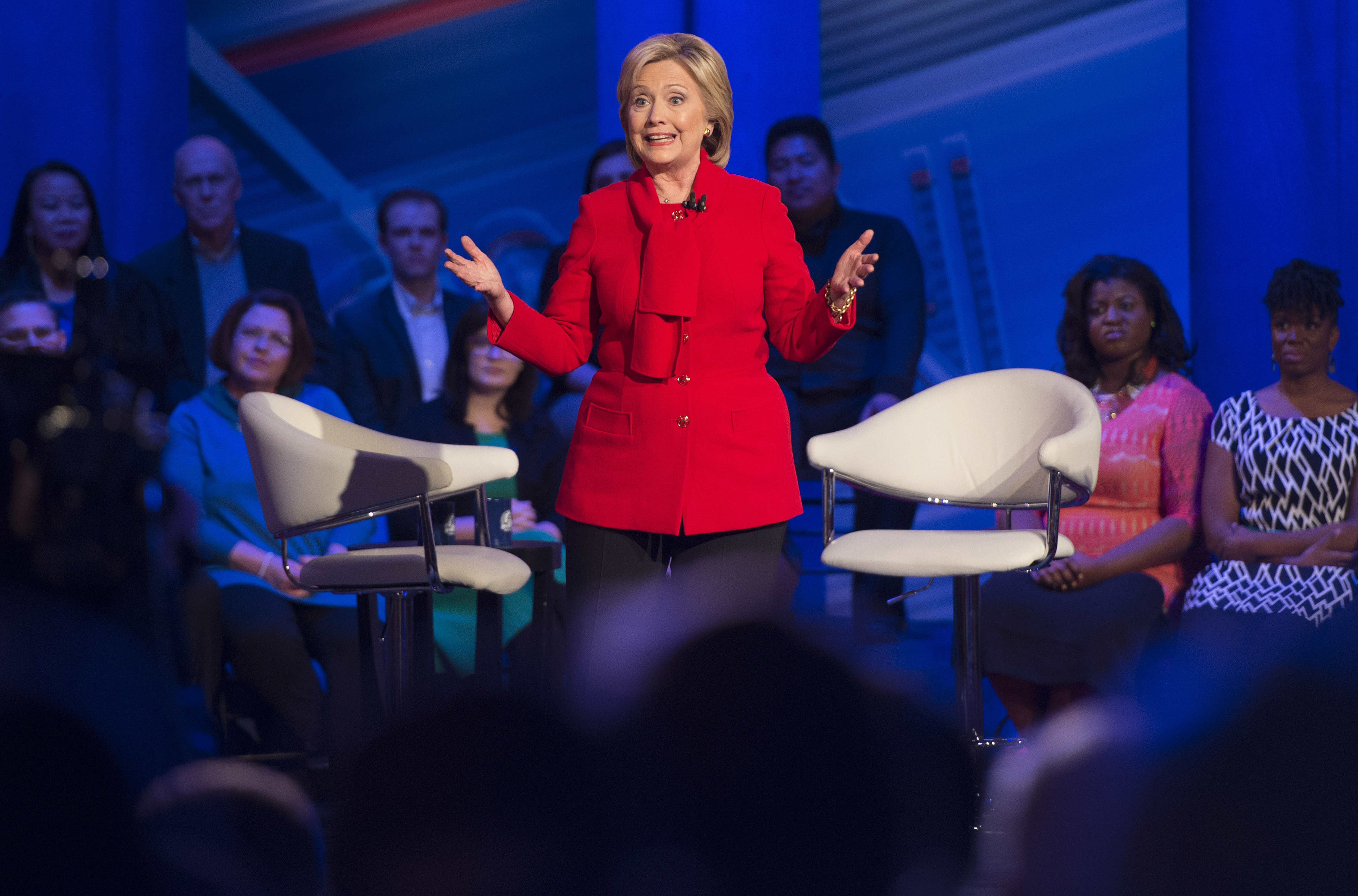 Democratic presidential candidate Hillary Clinton speaks during the CNN Town Hall at Drake University in Des Moines , Iowa, January 25, 2016, ahead of the Iowa Caucus. AFP PHOTO / JIM WATSON / AFP / JIM WATSON (Photo credit should read JIM WATSON/AFP/Getty Images)