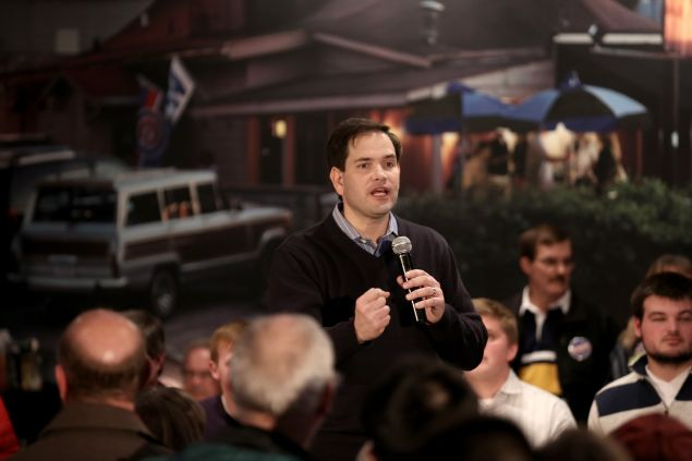 Republican presidential candidate Sen. Marco Rubio (R-FL) speaks to guests and supporters during a campaign rally at Wellman's Pub and Rooftop on January 27, 2016 in West Des Moines, Iowa. Politicians are stepping up their campaigning in Iowa ahead of the state's February 1 caucuses.