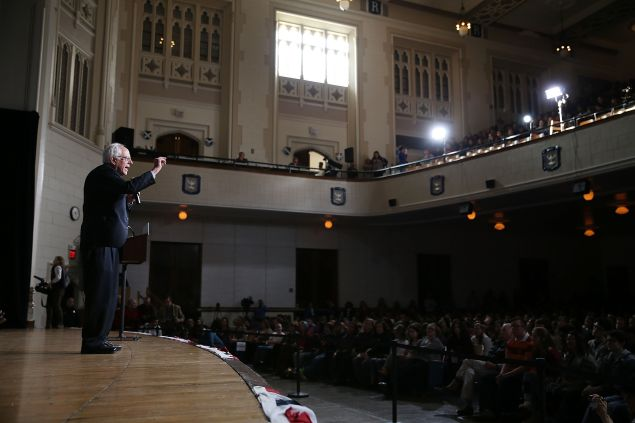 DES MOINES, IA - JANUARY 28: Democratic presidential candidate Sen. Bernie Sanders (I-VT) speaks during a forum at Roosevelt High School on January 28, 2016 in Des Moines, Iowa. The Democratic and Republican Iowa Caucuses, the first step in nominating a presidential candidate from each party, will take place on February 1. (Photo by Joe Raedle/Getty Images)