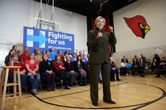 "NEWTON, IA - JANUARY 28: Democratic presidential candidate, former Secretary of State Hillary Clinton speaks during a ""get out the caucus"" event at Berg Middle School on January 28, 2016 in Newton, Iowa. With less than a week to go before the Iowa caucuses, Hillary Clinton is campaigning throughout Iowa. (Photo by Justin Sullivan/Getty Images)"