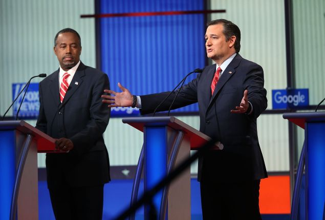 DES MOINES, IA - JANUARY 28: Republican presidential candidates (R-L) Sen. Ted Cruz (R-TX) and Ben Carson participate in the Fox News - Google GOP Debate January 28, 2016 at the Iowa Events Center in Des Moines, Iowa. Residents of Iowa will vote for the Republican nominee at the caucuses on February 1. Donald Trump, who is leading most polls in the state, decided not to participate in the debate. (Photo by Scott Olson/Getty Images)