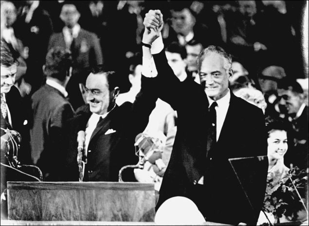Barry Goldwater and his running mate William Miller in 1964.