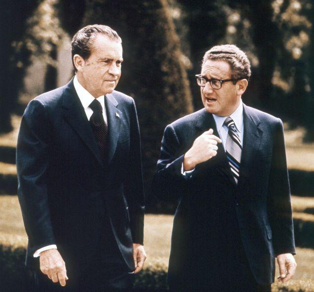 VIENNA, AUSTRIA - MAY 1972: President Richard Nixon and National Security Advisor Henry Kissinger walk during a visit to Vienna, Austria in May 1972. (Photo by AFP/Getty Images)