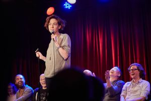 Comedian Molly Austin, during the show's first half. (Photo: Harry Zernike for Observer)
