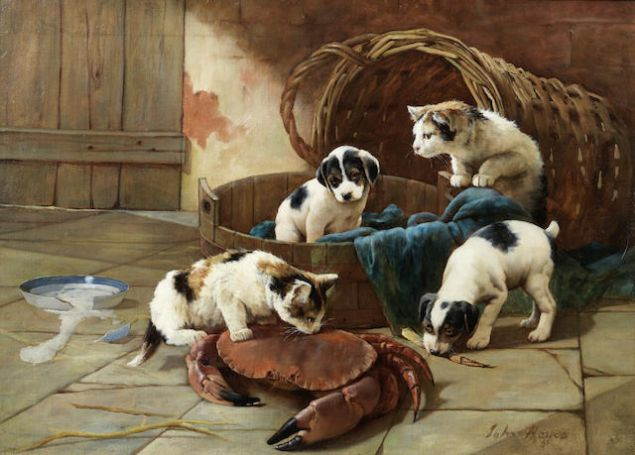 John Hayes's A friend from the deep features some of the youngest depictions of pups in the sale. And yes, it includes kittens too. Est. $2,000-$3,000. (Photo: Bonhams)