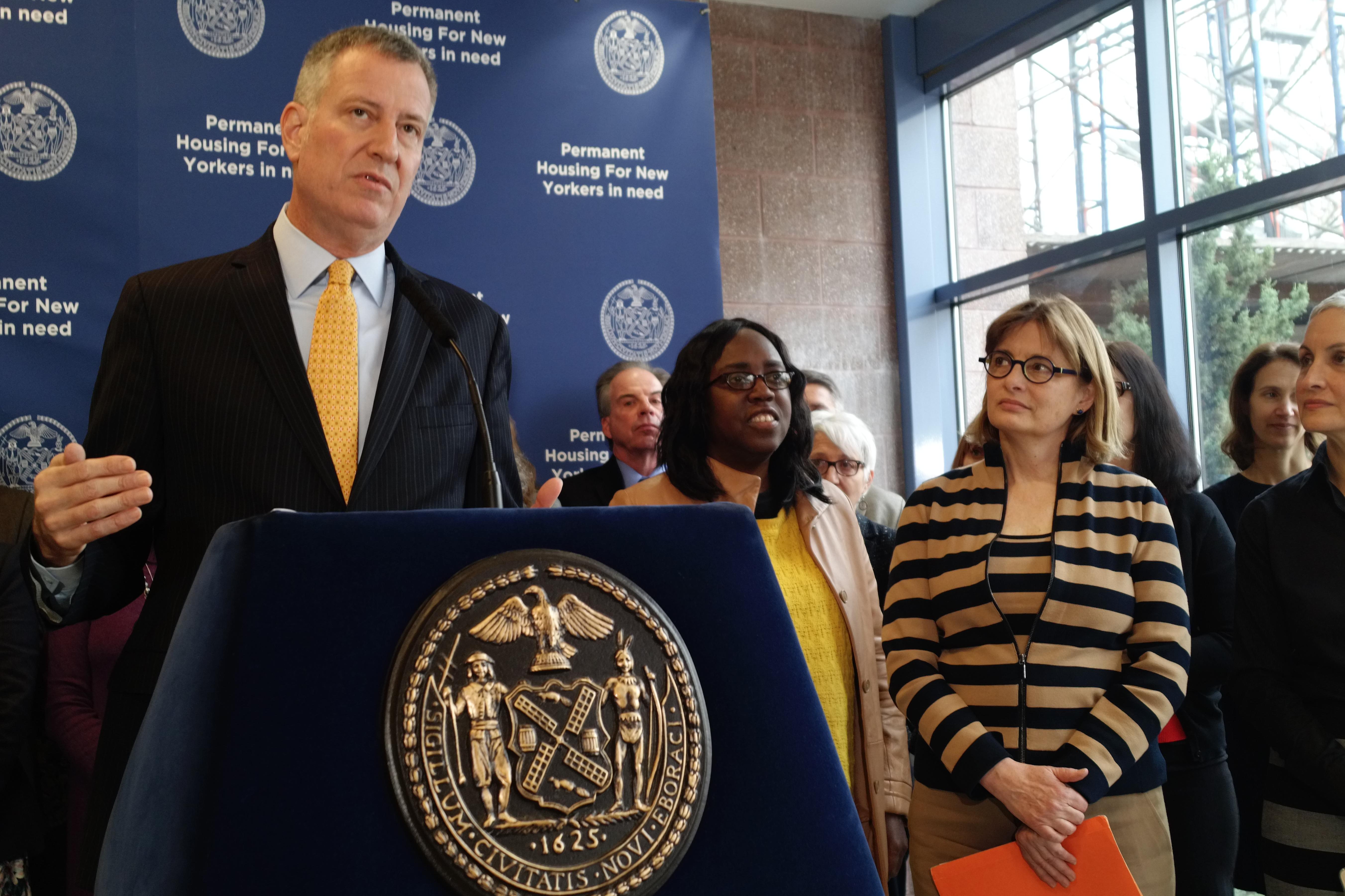 Mayor Bill de Blasio discusses supportive housing in Brooklyn. (Photo by Jillian Jorgensen for Observer)