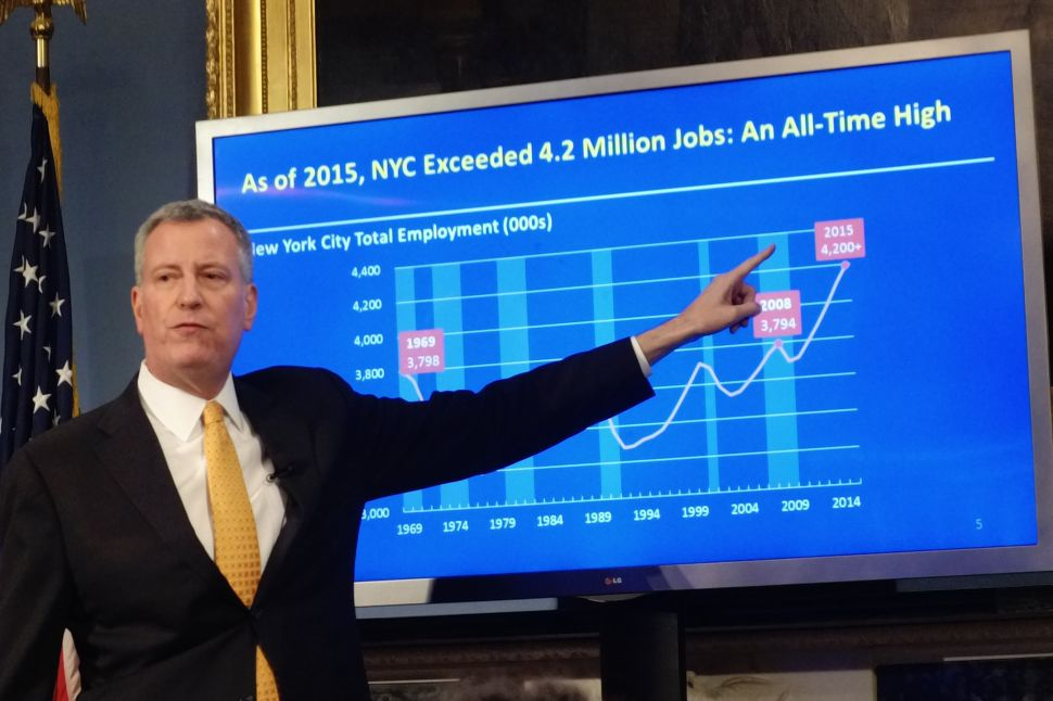 Mayor Bill de Blasio presents his preliminary budget for fiscal year 2017. (Photo: Jillian Jorgensen for Observer)