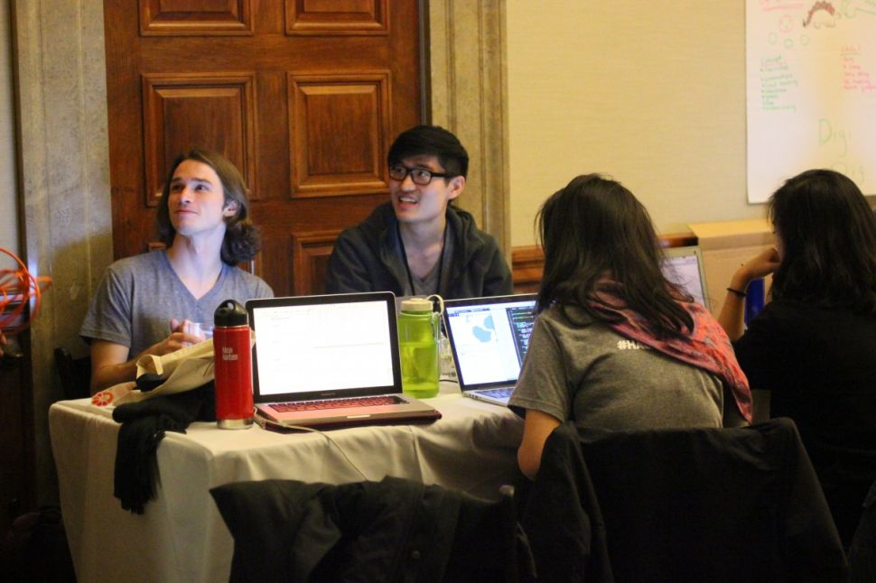 Team 'Pangea' from the Recurse Center at work at the American Museum of Natural History's Hack the Dinos event. (Photo: Miriam Shiffman)