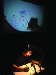 At City Winery, music writer Michael Hamad demonstrated is hand-drawn Phish Maps, which show the progression of the group's musical improvisations. (Photo: Larry Getlen)