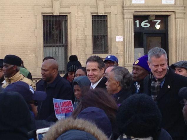 Gov. Andrew Cuomo, Rev. Al Sharpton and Mayor Bill de Blasio (Photo: Will Bredderman for Observer).