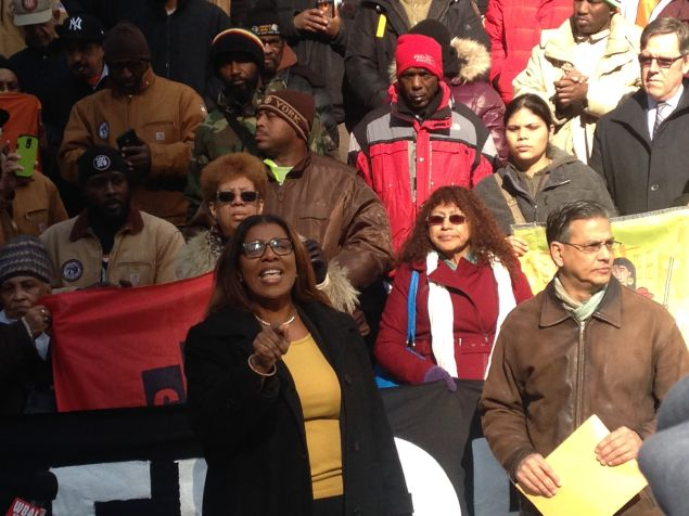 Public Advocate Letitia James at the Real Affordability for All rally (Photo: Will Bredderman for Observer).