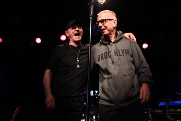 (L-R) Woody Woodmansey and Tony Visconti honoring David Bowie at Highline Ballroom on January 19, 2016 (Justin Joffe for Observer)