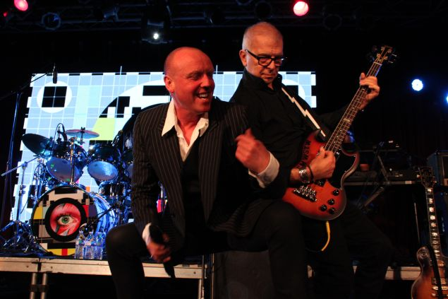 (L-R) Glenn Gregory and Tony Visconti honor David Bowie at Highline Ballroom on Tuesday, January 19. (Justin Joffe for Observer)