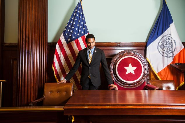 Ritchie Torres in the City Hall Council Chambers PHOTO: Emily Assiran for Observer