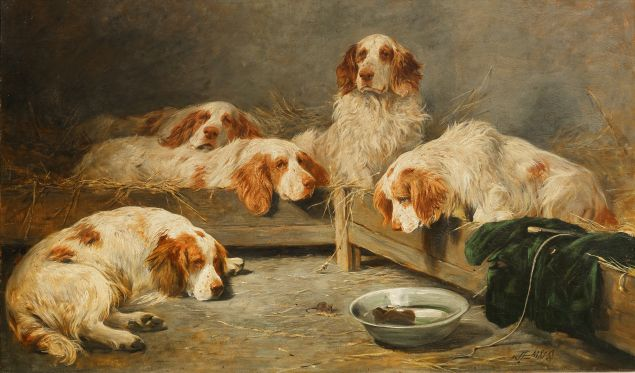 John Emms, An Unexpected Visitor—Clumber Spaniels in a Kennel. Est. $80,000-$120,000. (Photo: Bonhams)